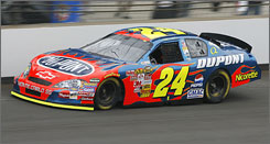 NASCAR Nextel Cup driver Jeff Gordon drives down the front stretch during practice for the Allstate 400 at he Brickyard at the Indianapolis Motor Speedway in July 2007. Gordon will try his luck at the course again on Saturday.