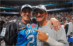 Philadelphia quarterbacks Matt D'Orazio, left, and Tony Graziani have both seen action at the position en route to the franchise's first-ever ArenaBowl appearance. The Soul will take on the defending champion SaberCats in New Orleans on Sunday.