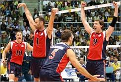 Left to right: Riley Salmon, Lloy Ball, Richard Lambourne and Ryan Millar celebrate in Rio.