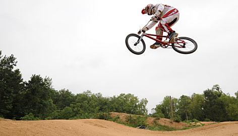 Olympic BMX medal contender Kyle Bennett catches some air at his hometown BMX course in Texas.