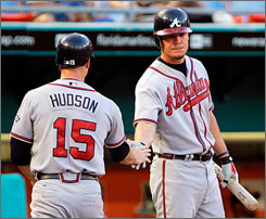 Pitcher Tim Hudson and third baseman Chipper Jones were on the field for the Braves last Wednesday, but they're both sidelined now  Hudson with a sore elbow and Jones with an ailing hamstring.