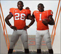 James Davis, right, and C.J. Spiller will be carrying the load for Clemson's running game as the Tigers shoot for the ACC title this year.
