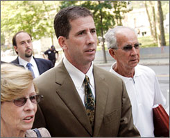 Former NBA referee Tim Donaghy arrives at the courtroom in Brooklyn, N.Y., where he was sentenced to 15 monts in prison for his role in an NBA gambling scandal.