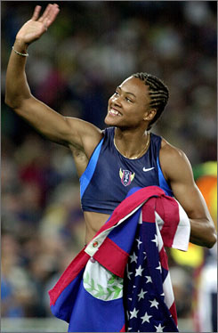 Marion Jones, celebrating after winning the gold medal in the 200 meters in 2000, is serving a six-month sentence after admitting she used steroids and lied about it to federal investigators.