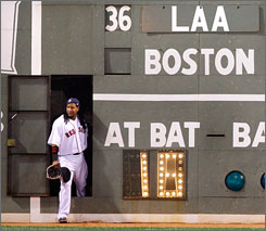 "In a classic case of ""Manny being Manny,"" Ramirez made a visit inside the Green Monster during a pitching change in a game against the Angels."