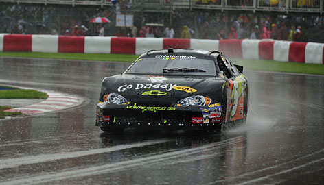 Ron Fellows navigates a turn during the NAPA Auto Parts 200 in Montreal. The native Canadian took the checkered flag in the first NASCAR points race run on grooved rain tires.