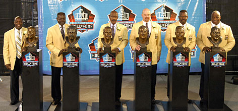 The Pro Football Hall of Fame Class of 2008 was inducted into the Canton, Ohio, shrine on Aug. 2. From left, Darrell Green, Emmitt Thomas, Art Monk, Gary Zimmerman, Andre Tippett and Fred Dean all unveiled their busts.