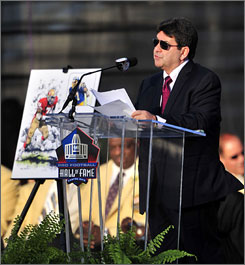"""Asked if he's pursuing an ownership position in the NFL right now, Eddie DeBartolo said, """"Not right now. Like (Brett) Favre, I'll never rule anything out."""""""