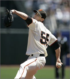 San Francisco pitcher Tim Lincecum earned his first win since July 13 and improved to 12-3 as the Giants beat the Atlanta Braves 3-2 on Wednesday.