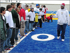 Former NFL wide receiver Andre Rison works with campers in Barrow, Alaska, the northernmost city in the United States.