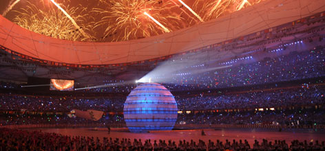At the climax of the opening ceremonies for the Beijing Olympic Summer Games, a 60-foot diameter globe rose from the floor with gravity-defying runners scampering around it. The globe took a year to design and construct.