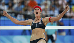 Nicole Branagh reacts after winning a set against the Netherlands.