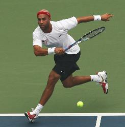 The USA's James Blake, playing in his first Olympics, opened the Beijing tennis competition with a victory against Chris Guccione of Australia in a first-round match at the Olympic Green Tennis Court.