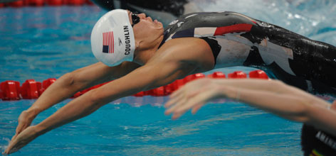 Natalie Coughlin, the defending Olympic champion in the women's 100-meter backstroke, will aim to protect her title in Tuesday morning's final.