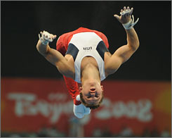 Jonathan Horton was the most consistent U.S. gymnast, including this routine on the high bar.