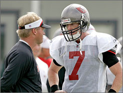 "Jeff Garcia feels his ability to take care of the ball makes him the best fit for Jon Gruden's offense in Tampa Bay. ""I am learning to do what coach (Jon) Gruden is asking the position to do. It's important that I protect the football, and that's something I feel I do very well,"" Garcia says."