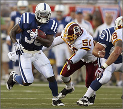 """Dominic Rhodes returns to the Indianapolis Colts in 2008 after a less-than-stellar year with the Oakland Raiders last season. """"When I left, for some reason, I was kind of tired of being here. I kind of took it (winning) for granted,"""" Rhodes says."""
