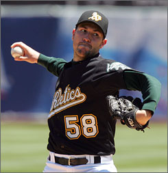 Justin Duchscherer has a great ERA and WHIP, but with little to play for down the stretch, the A's may decide to scale back his workload since he's on pace for a career high in innings pitched.