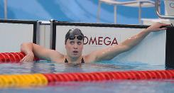 The USA's Katie Hoff came up just short in two finals Wednesday in Beijing, including the 200-meter freestyle.