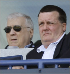 "Hank Steinbrenner, right, is notoriously outspoken, but the Yankees senior vice president pins this season's struggles on injuries. ""No team I've ever seen in baseball has been decimated like this. It would kill any team. Pitching is 70% of the game. Wang won 19 games two straight years. Chamberlain became the most dominating pitcher in baseball. You can't lose two guys like that."""