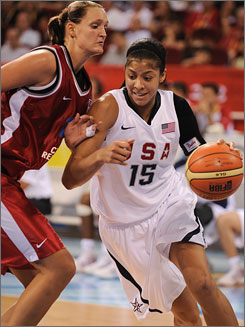 In Beijing, Candace Parker, shown here against the Czech Republic, hasn't been the world's best, but more may come. The U.S. won that game 97-57.