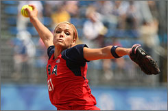 Jennie Finch pitched five shutout innings to lead the United States to their 19th straight victory in softball play.