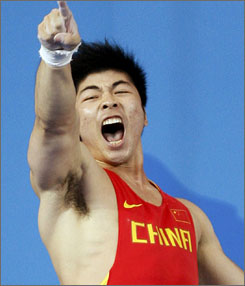 Lu Yong won China's second weightlifting gold medal of the day with his victory in the 85-kilogram class.