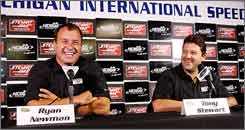 Tony Stewart, right, and         Ryan Newman will be changing teams and manufacturers next season, driving Chevrolets as teammates for Stewart Haas Racing.