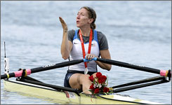 USA's Michelle Guerette blows a kiss after winning the silver medal in the women's single sculls final at the Beijing 2008 Olympics.