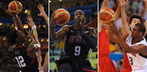 "The ""three man,"" a.k.a. Chris Bosh, left, Dwyane Wade, center, and Chris Paul, right, is one of the major reasons the USA is rolling over opponents with varsity-vs.-JV ease."