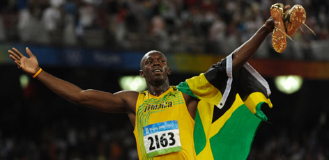 Usain Bolt of Jamaica won the men's 100-meter final and set a world record time of 9.69 seconds.