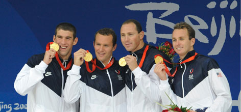 The U.S. men won 17 medals, one fewer than Athens, but 10 gold, the most since 1976. Michael Phelps, far left, earned his 8th gold medal in Beijing with the help of teammates, from left to right, Brendan Hansen, Aaron Peirsol and Jason Lezak in the 4 x 100 medley relay.