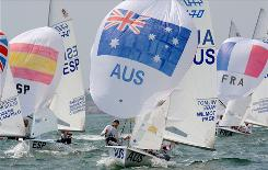 Sailors Nathan Wilmot and Malcolm Page of Australia take part in the 470 men's class race to the finish.