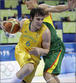Australia's Andrew Bogut is the man to watch, leading his squad in points and rebounds.