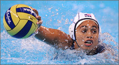 The USA's Patty Cardenas determines her next move leading up to the team's semifinal victory over Australia. The Americans are through to the gold medal match.