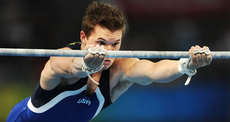 """""""Maybe I'd just rather be lucky than good,"""" Team USA's Jonathan Horton said about winning a silver medal on high bar."""