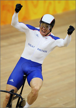British track cyclist Chris Hoy has picked up his third gold at the Olympic velodrome.