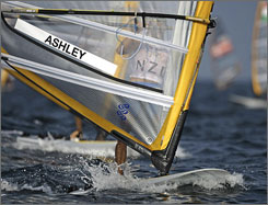 Tom Ashley of New Zealand approaches the down wind mark of the August 12 race of the men's windsurfing competition. Ashley also finished third in Wednesday's final.