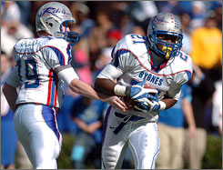 Chas Dodd, left, and Marcus Lattimore lead the way for Byrnes (S.C.) High as they open the 2008 season in the No. 1 spot in USA TODAY's Super 25 football rankings.