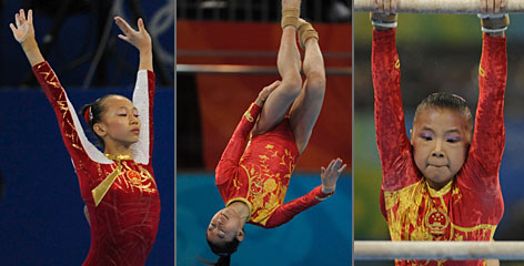 The Chinese gymnasts at the center of the age controversy are, from left to right, all-around bronze medalist Yang Yilin, fourth-place floor exercise winner Jiang Yuyuan and uneven bar gold medalist He Kexin.