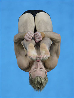 Matthew Mitcham of Australia competes in the final of the men's 10m platform diving.