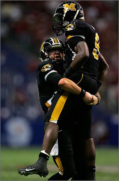 Jeremy Maclin, leaping into the arms of Missouri quarterback Chase Daniel after scoring a touchdown against Oklahoma in the 2007 Big 12 Championship game on Dec. 1, finished with 2,776 all-purpose yards last season.