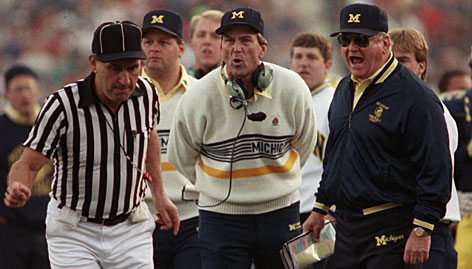 Before Rich Rodriguez came to Michigan, Bo Schembechler, right, was the last outsider to take over as Wolverines coach. Lloyd Carr, center, led the team for 13 seasons before retiring in December.