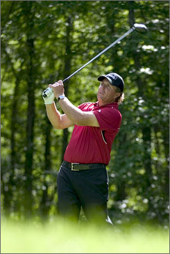 Phil Mickelson, teeing off during the pro-am for the Deutsche Bank Championship, is ranked No. 2 in the world. 