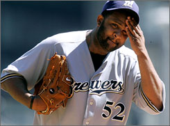 CC Sabathia threw a one-hitter against the Pirates on Sunday as the Brewers cruised to a 7-0 victory.