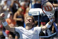 Mardy Fish, who will marry a Deal or No Deal  model later this month, has matched his best Grand Slam performance.