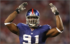 "Justin Tuck was one of three Giants to record at least nine sacks in 2007 (with the now-retired Michael Strahan and the now-injured Osi Umenyiora). Said GM Jerry Reese of the defending Super Bowl champion Giants, ""If you rush the passer, that's the name of the game."""