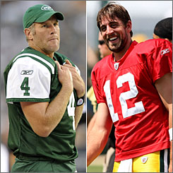 Who will win more games in 2008? Jets QB Brett Favre, left, or his replacement in Green Bay, Aaron Rodgers?
