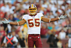 """People sometimes get the idea of being a leader a little messed up,"" Redskins defensive end Jason Taylor says. ""A leader doesn't just come in and start saying things, throwing bottles around the locker room. It starts with your play."" The Redskins hope Taylor's play on the defensive line gives their pass rush a boost this season."