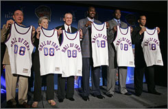 Basketball Hall of Fame inductees, from left, Dick Vitale, Cathy Rush, Pat Riley, Hakeem Olajuwon, Patrick Ewing and Adrian Dantley are seen at a news conference in April in San Antonio. Olajuwon, Ewing and Riley are the biggest names set to be inducted into basketball's Hall of Fame on Friday, yet the voice of another inductee is sure to steal the show when Dick Vitale steps up to speak.